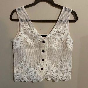 Zara Cream Crochet Floral Linen Blend Vest Small